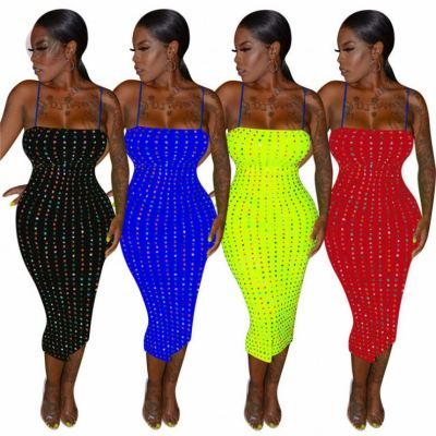 Hot Sell Lady Elegant Sequin Slip Hot Night Evening Club Party Sexy Clothes Summer Women Lady Fashion Dress