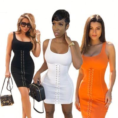 Best seller summer fashion sleeveless solid color grommet lace up ladies sexy bodycon women Girls' Casual Dress