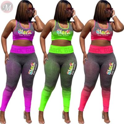2020 Summer fashion letter print gradient Top And Pants Sexy 2 Pcs Track Suit Outfits Two Piece Set Women Clothing