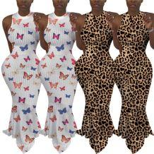 Hot sale fashion leopard print sexy bodycon sleeveless Night Evening Club Party Summer Women Girls' Casual long Dress