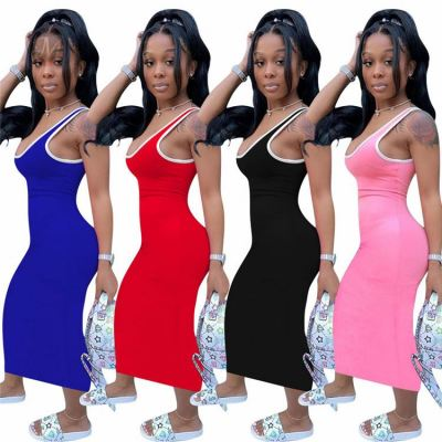 Fashion Women Solid Maxi Long Lady Sexy Clothes Lady Elegant Summer Casual Dress For Woman