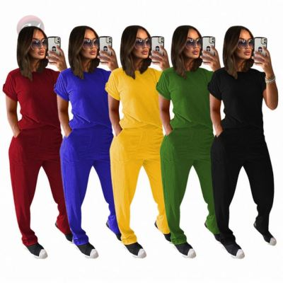 Summer Casual Solid With Pocket Sexy Fashion Women Clothing 2 Pcs Track Suit Outfits Two Piece Set