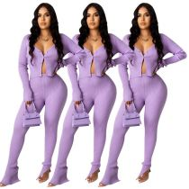 Hot onsale solid color long sleeve Top And slit Pants Sexy 2 Pcs Track Suit Outfits Two Piece Set Women Clothing
