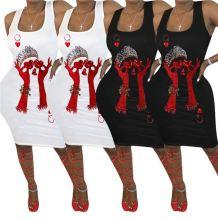 Fashion sexy sleeveless positioning printing ladies tank dress night club Summer Women Girls' Casual Dress For Woman