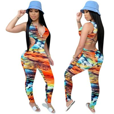 Wholesale Summer 2020 Ladies print sexy backless Jump Suit Basic Bodysuits Women One Piece Jumpsuits And Rompers