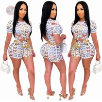 Wholesale Summer Printed Fashion Sexy Women Clothing Two Piece Short Set 2 Pcs Outfits