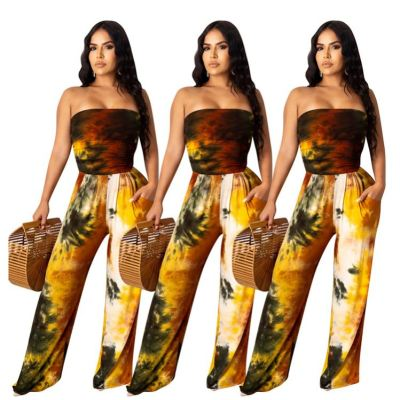 Design fashion sexy strapless tie-dye print draped ladies party loose jumpsuit women noe piece jumpsuits and rompers