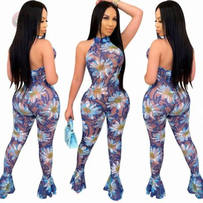 Newest Summer Mesh Backless Tights Flare Printed Jump Suit  Bodycon Sexy Women One Piece Jumpsuits And Rompers