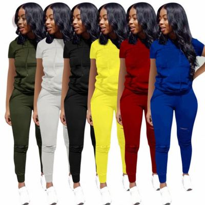 Fashion Solid Summer Hollow Out Hoodie Sexy Women Clothing 2 Pcs Track Suit Outfits Two Piece Set