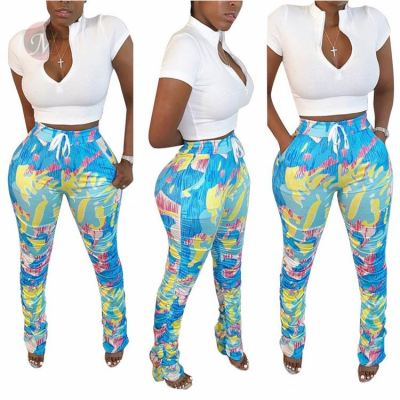 Fashion Summer Sexy Solid Top And Draped Stacked Pant Women Clothing Two Piece Set 2 Pcs Outfits