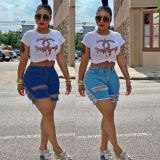 Newest design 4 colors fashion tassel hole Summer Women Female Bottoms Ladies Trousers Denim Shorts ripped Jeans Pants