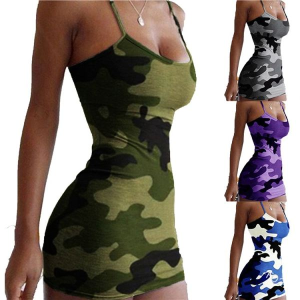 2020 summer spaghetti strap floral print camouflage sexy bodycon mini dress night club Party Women Girls' Casual Dress