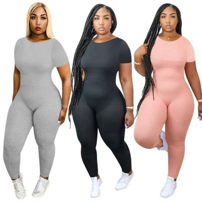 New arrival fashion solid color round neck short sleeve sexy bodycon women noe piece jumpsuits and rompers