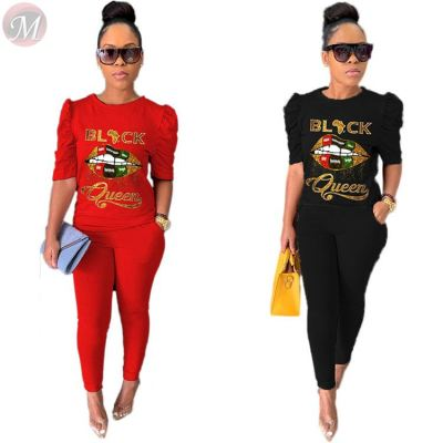 Fashion casual letter print Top And Pants Sexy 2 Pcs Track Suit Outfits Two Piece Set Women Clothing For Women