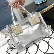 New 2020 summer EU and US female bag transparent two-piece set mother and daughter jelly fashion handbag shoulder bag