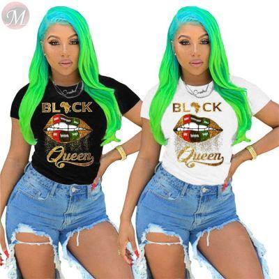Hot selling 2020 summer fashion casual ladies sexy lip print Girls' Tee Summer Women Plain T Shirt