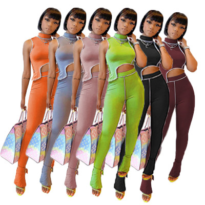 Wholesale Summer skinny solid color crop Top And slit Pants Sexy 2 Pcs Track Suit Outfits Two Piece Set Women Clothing