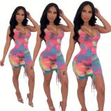 Wholesale tie-dye draped Lady Elegant Sexy bodycon Clothes Hot Night Evening Club Summer Women Girls' Casual Dress