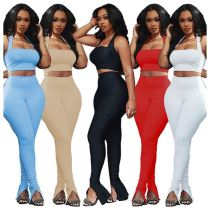 Hot sell fashion solid color crop Top And slit Pants Sexy night club skinny 2 Pcs Outfits Two Piece Set Women Clothing