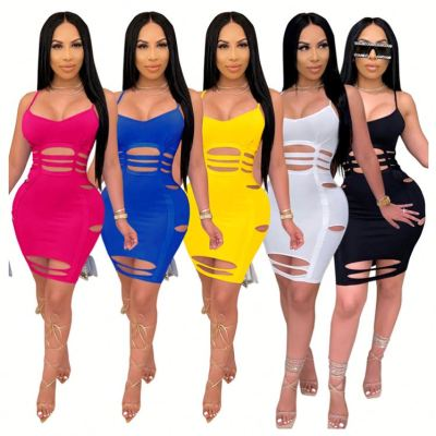 New arrival fashion solid color spaghetti strap hollow out ladies sexy bodycon dress Night club Casual Dress For Woman