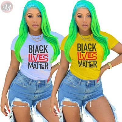 Fashionable 2020 summer casual letter print Ladies Round Neckline Tops Girls' Tee Summer Women Plain T Shirt