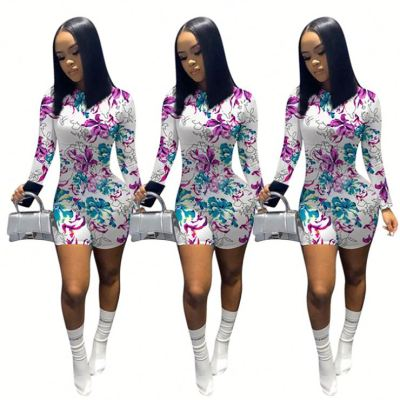 High quality long sleeve floral print sexy bodycon Ladies Jump Suit Basic Women One Piece Short Jumpsuits And Rompers