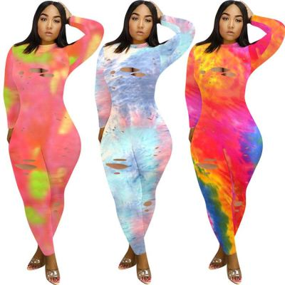 Wholesale fashion long sleeve holes tie dye Burn Out Bodycon Sexy Women One Piece Jumpsuits And Rompers