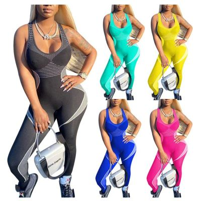 Wholesale Custom Summer 2020 Ladies sexy bodycon sports fitness Jump Suit Women One Piece Jumpsuits And Rompers