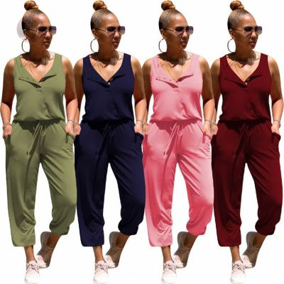 Fashion Button Sleeveless Solid Summer Sexy Women One Piece Jumpsuits And Rompers Bodycon Jump Suit