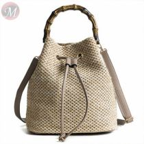 Hot sale 2020 hollow solid color bucket simple Best Cross Body Straw plaiting Lady bag handbag