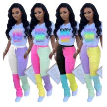 Hot onsale 2020 Summer splice draped Top And Pants Sexy 2 Pcs Track Suit Outfits Women Two Piece stacked pants Set