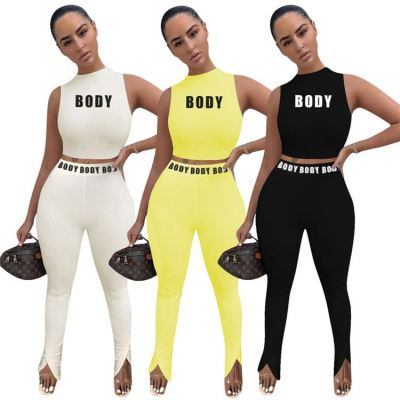 Fashionable 2020 Summer letter print crop Top And Pants Sexy 2 Pcs Track Suit Outfits Two Piece Set Women Clothing