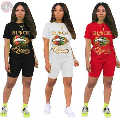 Wholesale 2020 summer fashion casual print sports suit 2 Pcs Track Suit Outfits Two Piece Set Women Clothing