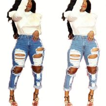 Hot selling 2020 summer fashion streetwear big hole Denim trousers Women Female Bottoms Ladies ripped Jeans Pants