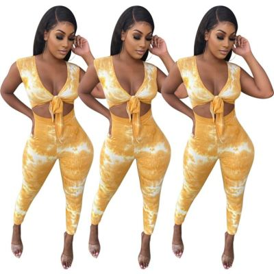 Latest design fashion casual sports tie-dye sexy bodycon hollow out bandage women one piece jumpsuits and rompers