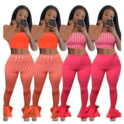 New arrival sexy striped print crop top and ruffles flare pants 2 Pcs Track Suit Outfits Two Piece Set Women Clothing