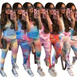 Fashion casual Summer tie-dye Top And Pants Sports leisure 2 Pcs Track Suit Outfits Two Piece Set Women Clothing