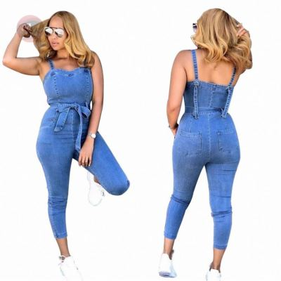 Summer Bandage Tights Backless Women Sexy Bodycon Jump Suit One Piece Denim Jeans Jumpsuits And Rompers