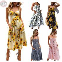 Design fashion summer sexy spaghetti strap Lady Elegant Sexy Clothes Summer Women Girls' Casual Maxi Long Dress