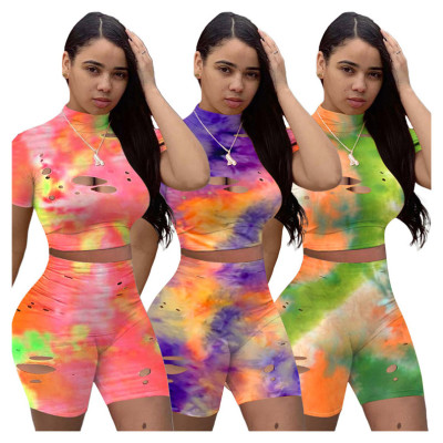 New Arrival Summer Sexy Tie Dye Hollow Out Two Piece Short Set Matching Sets Sports 2 Pcs Outfits
