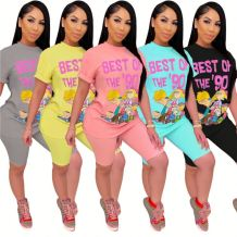 Wholesale Price Fashion Cartoon Print Streetwear T Shirt Pants Set 2 Pcs Track Suit Outfits Two Piece Shorts Set Women Clothing
