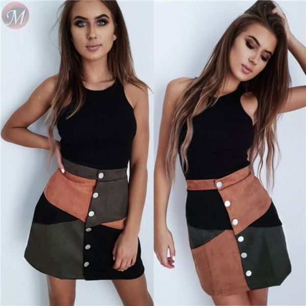 high quality fashion casual A-lineskirt velvet multicolor splice button Fashion skirt women clothing