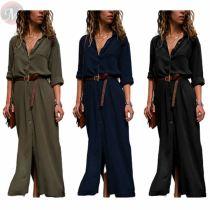 Stylish fashion long sleeve loose Lady Elegant Sexy Clothes Summer Women Girls' Casual shirt Maxi Long Dress