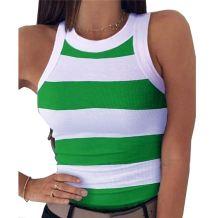 New stylish Striped Print round Neck Sleeveless vest summer sexy tops Girls' Tee Summer Women Plain T Shirt