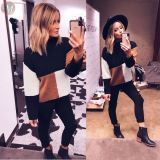 fashion casual loose long sleeve round neck Pullovers Multicolor splicing women fashion sweater jumper
