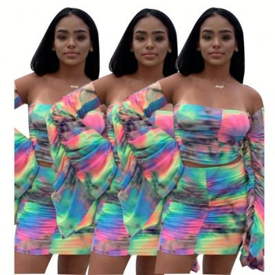 Design Fashion Sexy Strapless Plicated Flare Sleeve Crop Top And Skirt Women Two Piece Dress Set Women Clothing
