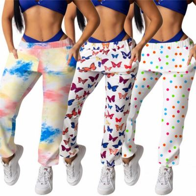 Fashionable Women Printing Ladies Trousers Pants Casual Female Bottoms
