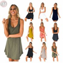 Best seller fashion solid color sleeveless Women Girls' Sexy Clothes Lady Elegant Summer Casual Dress