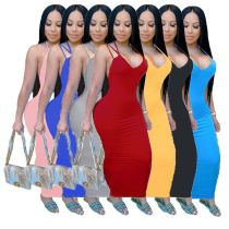 Hot selling fashion sexy v neck straps high elastic backless night club party fat ladies women plus size bodycon dress