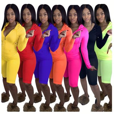 Design Fashion Casual Solid Color Long Sleeve Hooded Top And Pants 2 Pcs Track Suit Outfits Two Piece Set Women Clothing
